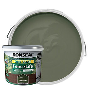 Ronseal One Coat Fence Life Matt Shed & Fence Treatment - Forest Green 9L