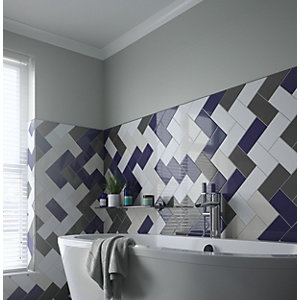 Wickes Cosmopolitan Dark Blue Ceramic Wall Tile - 200 x 100mm