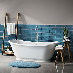 Wickes Metro Light Blue Ceramic Wall Tile - 200 x 100mm