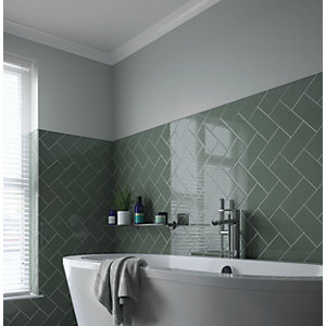 Wickes Cosmopolitan Sage Ceramic Wall Tile - 200 x 100mm