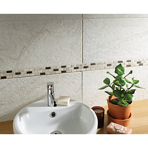 Wickes Silver Polished Marble Brick Mosaic Tile - 305 x 305mm