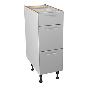 Wickes Orlando Grey Gloss Slab Drawer Unit - 300mm