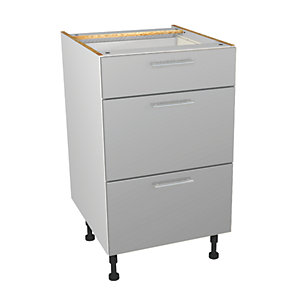 Wickes Orlando Grey Gloss Slab Drawer Unit - 500mm