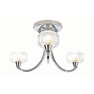 Spa Octans Chrome Treble Bathroom Semi-flush Ceiling Light - 84W