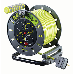 Masterplug Pro-XT 4 Socket Open Reel High Visibility Cable - 20m 13A