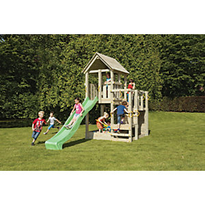 Shire 7 x 7ft Children's Wooden Penthouse Playhouse with Bridge, Slide & Climbing Wall