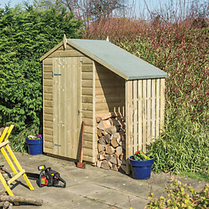 Rowlinson Oxford 4 x 3ft Small Shiplap Apex Shed with Side Storage