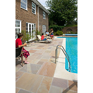 Marshalls Fairstone Riven Harena Autumn Bronze Paving Slab Mixed Size - 15.25 m2 pack