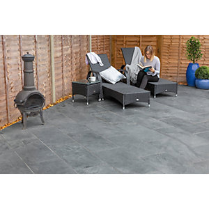 Marshalls Casarta Slate Textured Black Paving Slab 800 x 800 x 20 mm - 16m2 pack