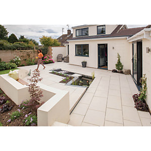 Marshalls Symphony Smooth Barley 595 x 595 x 20mm Porcelain Paving Slab - Pack of 26