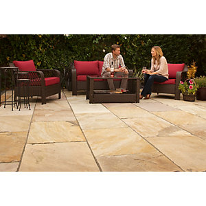 Marshalls Indian Sandstone Textured Buff Multi Paving Slab 560 x 560 x 22 mm - 20.1 m2 pack