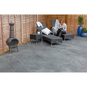 Marshalls Casarta Slate Textured Black Paving Slab 800 x 400 x 20 mm - 16m2 pack