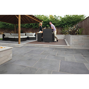 Marshalls Casarta Slate Textured Silver Grey Paving Slab 400 x 400 x 20 mm - 16m2 pack