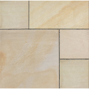 Marshalls Fairstone Sawn Versuro Smooth Autumn Bronze Centre Stone Paving Mixed Size - 5.88 m2 pack