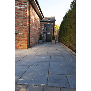 Marshalls Indian Sandstone Textured Grey Multi Paving Slab 275 x 275 x 25 mm - 9.68 m2 pack