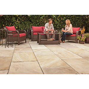 Marshalls Indian Sandstone Textured Brown Multi Paving Slab 560 x 275 x 25 mm - 19.712m2 pack