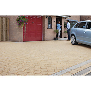 Marshalls Drivesett Argent Textured Driveway Block Paving Pack Mixed Size - Buff 10.75 m2