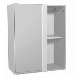 Wickes Madison Grey Gloss Handleless Corner Wall Unit - 600mm