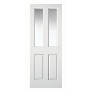 Wickes Stirling White Clear Glazed Grained Moulded 4 Panel Internal Door
