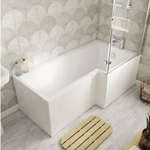 Wickes Veroli L-Shaped Right Hand Shower Bath - 1500 x 850mm