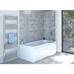 Wickes Valsina Right Hand P-Shaped Standard Shower Bath - 1500 x 800mm
