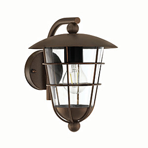 Eglo Pulfero 1 Brown Outdoor Traditional Down Lantern Wall Light - 60W E27