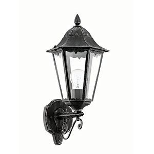 Eglo Navedo Black & Silver Outdoor Wall Light - 60W