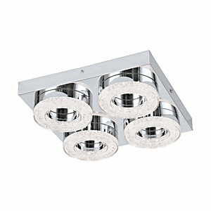 Eglo Fradelo LED Chrome & Crystal Square & Hoop Flush Ceiling Light - 4 x 4W
