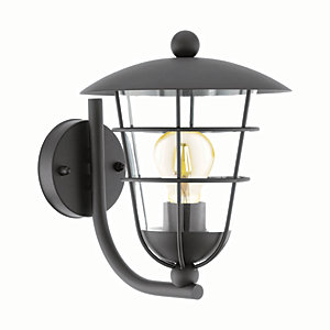 Eglo Pulfero Black Outdoor Traditional Up Lantern Wall Light - 60W E27