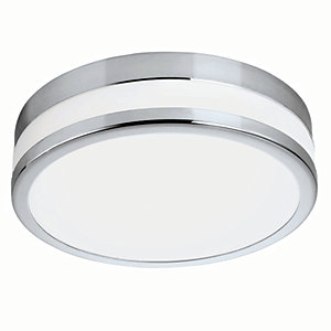 Eglo Palermo LED Chrome & White Glass Bathroom Round Ceiling Light - 11W