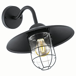 Eglo Melgoa Black Outdoor Traditional Down Lantern Cage Wall Light - 60W E27