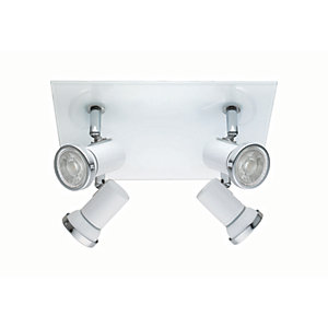 Eglo Tamara 1 LED Bathroom White & Chrome Square Spotlight - 4 x 3.3W GU10