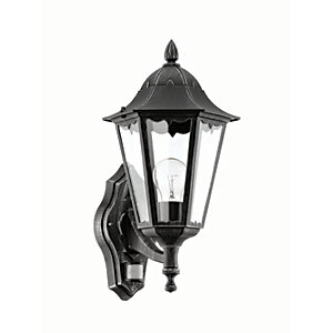 Eglo Navedo Black & Silver Outdoor Wall Light With Sensor - 60W