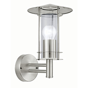 Eglo Lisio Outdoor Stainless Steel Lantern Wall Light - 60W E27