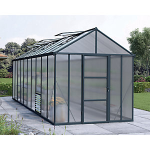 Palram 8 x 20ft Glory Long Aluminium Apex Greenhouse with Polycarbonate Panels