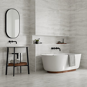 Wickes Callika Mist Grey Porcelain Wall & Floor Tile - 600 x 300mm