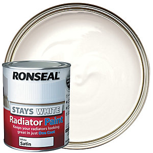 Ronseal Stays White Radiator Paint White Satin 750ml