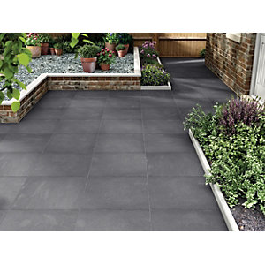Marshalls Limestone Textured Black Multi Paving Slab 600 x 600 x 22 mm
