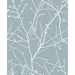Superfresco Easy Innocence Duck Egg Blue Fabric Effect Wallpaper - 10m