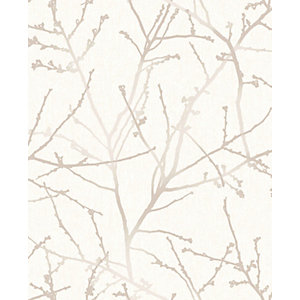 Superfresco Easy Innocence Stone and Cream Fabric Effect Wallpaper - 10m