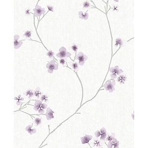 Superfresco Easy Radiance Lavender and White Decorative Wallpaper -10m