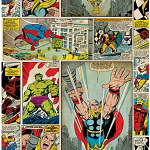 Marvel Superheroes Comic Strip Decorative Wallpaper - 10m
