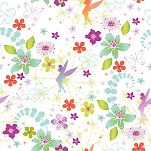 Tinkerbell Retro Multicoloured Decorative Wallpaper - 10m