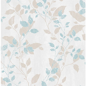Boutique Vermeil Leaf Duck Egg Blue Decorative Wallpaper - 10m