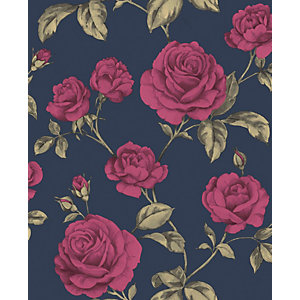 Boutique Countess Navy Decorative Wallpaper - 10m