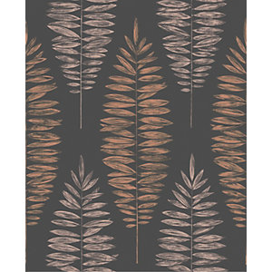 Boutique Lucia Black/Copper Decorative Wallpaper - 10m