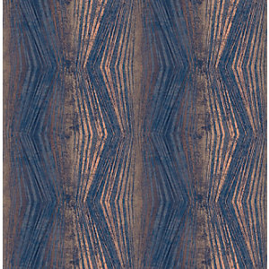 Boutique Vermeil Stripe Blue Decorative Wallpaper - 10m