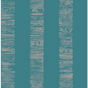 Boutique Mara Stripe Turquoise Decorative Wallpaper - 10m