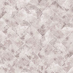 Contour Travertino Taupe Decorative Wallpaper - 10m
