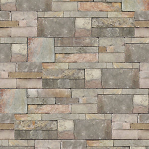 Contour Natural Sandstone Decorative Wallpaper - 10m